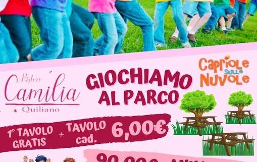 Parco san pietro in carpignano quiliano ristoro camilia festeggiare al parco all'aperto